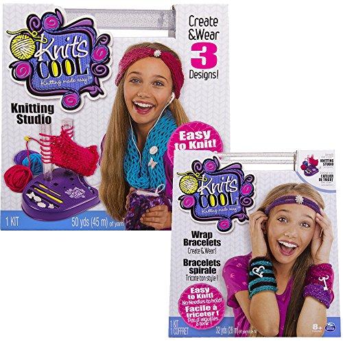 """Preisvergleich Produktbild Knits Cool Strickstudio - Stricken ohne Nadel für Kinder inkl. Kreatives Strickset """"Wickelarmbänder"""""""