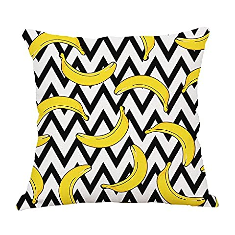 MaxG Home Decor Cotton Linen Design Banana Pattern Waves Square Throw Pillow Cases Cushion Covers For Sofa Bed 18X18 inches