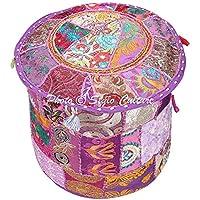 Redondo Otomano Puf tapa suelo puf reposapiés funda color morado indio bordado Patchwork algodón tradicional cubierta puf Otomano (16x 16x 13cm) 40cm por Stylo cultura