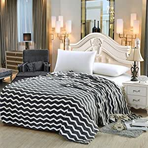 Chevron Modern Wave nero Queen Size ultra Plush micro coperta in pile