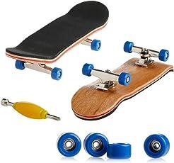 Kangnice Wooden Deck Fingerboard Skateboard Sport Games Kids Gift Maple Wood Dark Blue