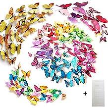 Tomkity 8 Colores, 96 Piezas 3D Mariposa Pegatinas de Pared Etiquetas Engomadas Mariposas Decoración de la Pared