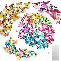 Idea Regalo - Tomkity 96 Pezzi 8 colori brillanti farfalle 3D adesivi per pareti vari colori decorazione casa stickers murali ( 12 Pezzi verde, blu, viola, rosso, bianco, rosso rosa, giallo, colorato)