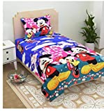 #7: Gharshingar 160 TC Micky Mouse Single Polycotton Bedsheet with Pillow Cover