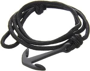 Lion&Son, braccialetto Nettuno, con ancora e in stile nautico, in paracord intrecciato e regolabile, unisex