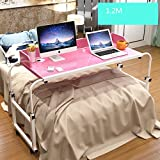 Ybaymy Adjustable 1.2M Overbed Computer Table Desk Workstation with Wheels -Princess Pink