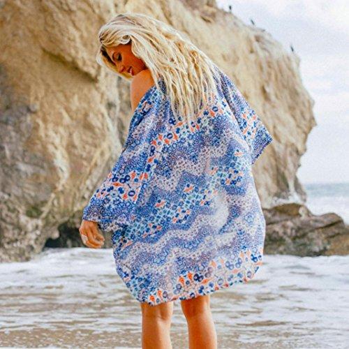 Amlaiworld Femmes Totem impression Kimono Cardigan Loose Bleu