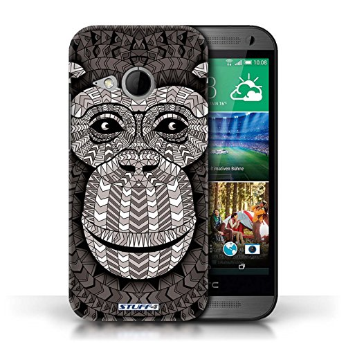 Coque de Stuff4 / Coque pour HTC One/1 Mini 2 / éléphant-Orange Design / Motif Animaux Aztec Collection Singe-Mono
