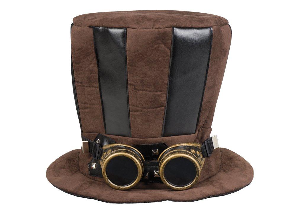 Boland–Sombrero Cilindro Tuba Steampunk con gafas para adultos, color marrón, talla única, 54514