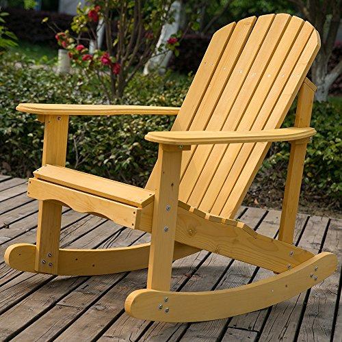Life Carver sedia a dondolo da giardino e terrazza in legno massello naturale comodo schienale curvo, perfetto per uso esterno o interno