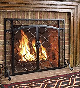 """Plow & Hearth Celtic Knot Two-Door Fireplace Hearth Screen - Powder Coated Steel and Mesh - Black and Natural Metal Finish - 44"""" W x 33"""" H"""