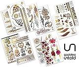 10 Blätter Premium Design Große Packung Goddess Untold Temporäre Metallic Flash Tattoos Wasserdicht über 200 Designs - Gold, Silber, Schwarz und Farbe für Festivals, Strand, Partys