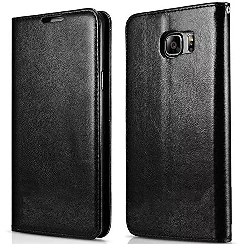 FDTCYDS Etui Galaxy S6 Edge Plus,Coque Galaxy S6 Edge +, Pochette Portefeuille en Cuir Véritable Coque de Protection pour Housse Samsung Galaxy S6 Edge Plus avec Fonction Stand - Black/Noir