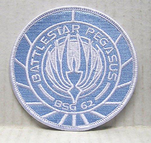 Battlestar Galactica Abzeichen (Battlestar Galactica bsg-62Pegasus hellblau bestickt abzeichen Patch Aufnäher oder zum Aufbügeln 9cm)