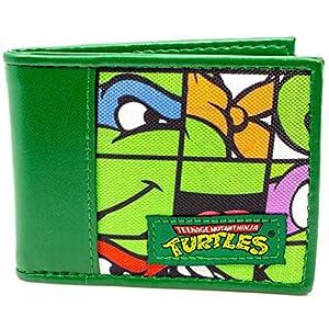 Nickelodeon Ninja Turtles Tiled Faces Green ID & Card Bi-Fold Wallet
