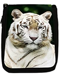 White Tigers Medium Black Canvas Shoulder Bag - Size Medium