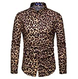 Hellomiko Herrenmode Retro Leopardenmuster Langarm-Hemd Komfortable Atmungsaktiv Cardigan