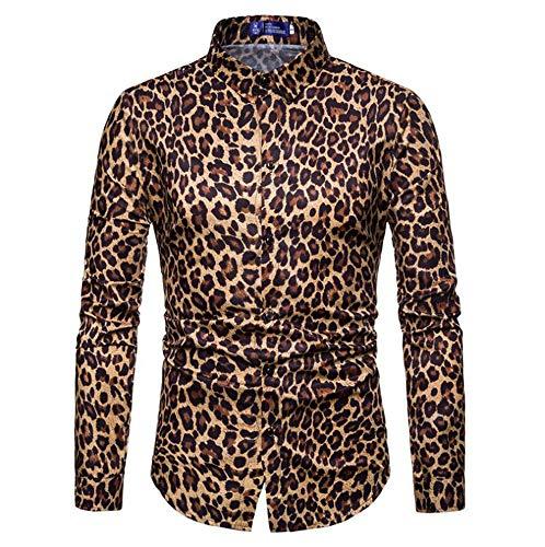 Keephen Camisa Ajustada con Estilo de Leopardo Casual Elegante de Los Hombres Camisa Retro de Manga Larga