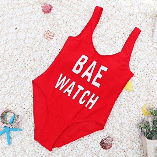 2017 Maillot de Bain, Xinan Femmes Swimwear Lettre Imprimer Backless Bikini Tankini Beachwear Rouge