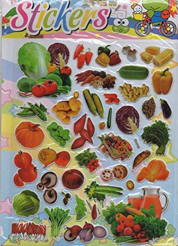 3D Gemüse Kürbis Salat Paprika bunt Aufkleber 1 Blatt 250 mm x 200 mm Sticker Basteln Kinder (Kürbis Blatt)