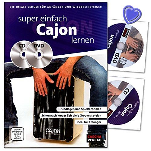 Super einfach Cajon lernen - die ideale Schule für Anfänger und wiedereinsteiger - nach kurzer Zeit die ersten Grooves auf deinem Cajon spielen - Lehrbuch mit CD, DVD und herzförmiger Notenklammer