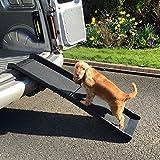 Superficie antideslizante portátil para coches y vans de RayGar plegable de plástico para perros y mascotas, rampa plegable, ligera, fuerte–Negra