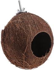 Cold Toy Vogel Papagei Finken Nest natürliche Kokosnussschale Hängende Kette Käfig Spielzeug Swing House
