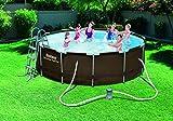 Bestway Power Steel Rattan Frame Pool Set mit Filterpumpe + Zubehör, 366x100cm -