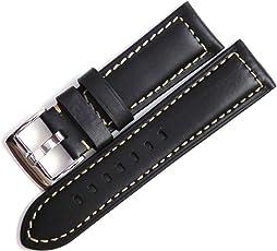 24mm Vintage Leather Strap for Watch (Black/Cream Stitch)