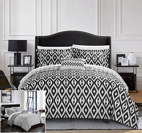 Chic Home 4Stück normani Reversible Ikat Diamant und moderne geometrische Muster Print Technik Bettbezug Set, Mikrofaser, schwarz, - Twin Clearance Sets Tröster