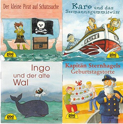 4 Pixi-Bücher aus Serie 132: Nr. 1133 Karo und das Seemannsgummitwist; 1134 Der kleine Pirat auf Schatzsuche; 1135 Kapitän Sternhagels Geburtstagstorte; 1136 Ingo der alte Wal. - 1135-serie