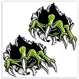 SkinoEu® 2 x PVC Laminado Pegatina Adhesivos Garras Monstruo Rasguño Monster Claws para Autos Coches Motos Ciclomotores Bicic