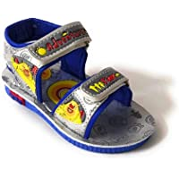 Coolz Kids Chu-Chu Sound Musical First Walking Sandals C-01 Silver Blue for Baby Boys and Baby Girls Age 12-24 Months