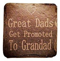 Idea Regalo - Platters Slate Ardesia Great dads get promoted al nonno sottobicchieri in ardesia, colore: nero