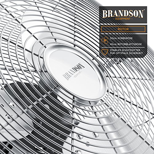 Brandson – Windmaschine Retro Stil 120 Watt | Ventilator in Chrom | Standventilator 50cm | Bodenventilator | hoher Luftdurchsatz | stufenlos neigbarer Ventilatorkopf | silber Bild 4*