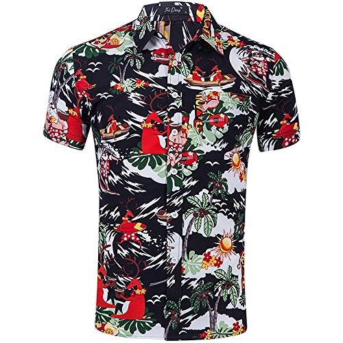 QIANZHIHE Herren T-Shirt Flamingo Print Hawaiian Shirt Herren Sommer Kurzarm Herren Strandhemd Herren Casual Slim Herrenhemd, S -