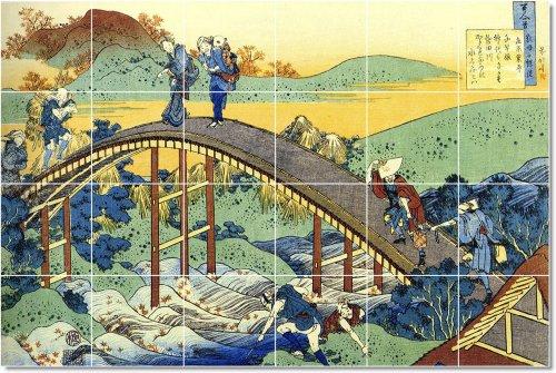 AZULEJO KATSUSHIKA HOKUSAI UKIYO-E TELA HOGAR MODERNO REMODELACION  17X 25 5CM CON (24) 4 25X 4 25AZULEJOS DE CERAMICA