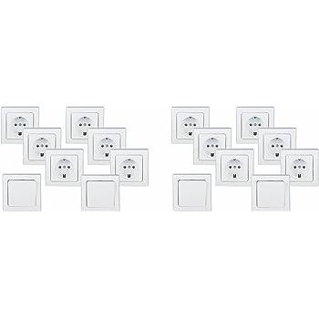 DELPHI Starter Set 2x Schalter 13 Teile 3x 2-fach Rahmen 8x Steckdose