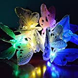 12 LED Solar Powered Butterfly Fairy Lights Outdoor Garden String Lights for Party Home Patio Decorations