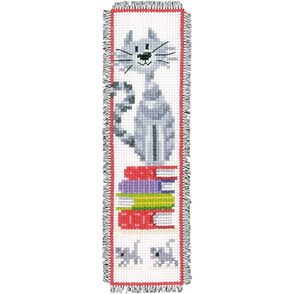 """Vervaco Lesezeichen Stickset  /"""" Katze auf Bücherstapel /""""  PN-0143914"""