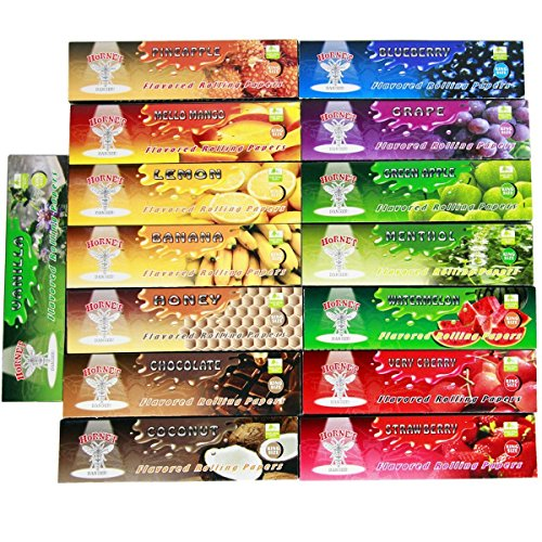 hosal-hornet-15-packs-variety-juicy-fruit-flavored-cigarette-rolling-paperking-size-11044mm32-papers
