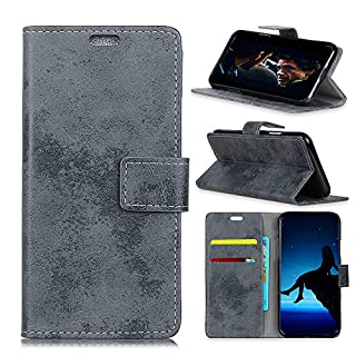 Fusutonus Nokia 2.1 Case, Durable and Slim PU Leather Wallet Case with Card Slot& Kickstand, flip Folio Full Body Protection Shockproof Cover fit Nokia 2.1, [Grey]