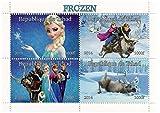 Disney Movie congelato collezione foglio menta miniatura di 4 francobolli con Elsa, Olaf, Anna e Kristoff / 2014 / Ciad