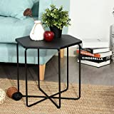 EGGREE Coffee End Table Nightstand Table,Solid MDF Coffee Tea Snack Side End Table Sofa Bedside Hallway Furniture for Bedroom Living Room,Hexagon,Black
