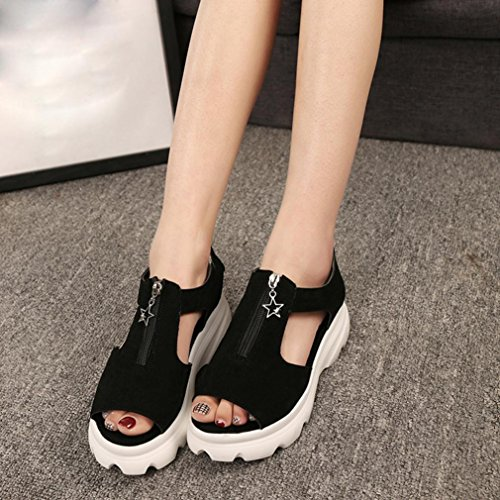 Frauen Fisch Mund Schuhe Sommer Sandalen Casual Platform Wedges Sandalen Schuhe (38, Schwarz) Hunpta
