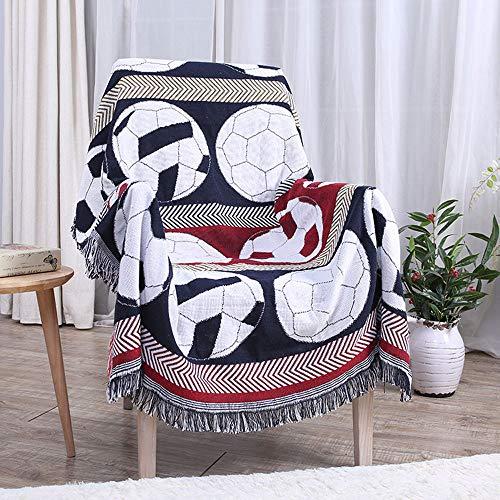 AMY Werfen Sie eine Decke, Sommer Dünnschliff komfortable und Nicht reizende weiche Baumwolle gewebte Decke Fußball Mode Dekoration Sofakissen Tapisserie-51 X63 -