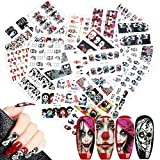 25 Blatt Halloween Nagel Sticker Abziehbilder, MWOOT Nagelaufkleber Nail Art Sticker Nagel Abziehbilder für Mädchen Halloween DIY Nagel Kunst Dekoration