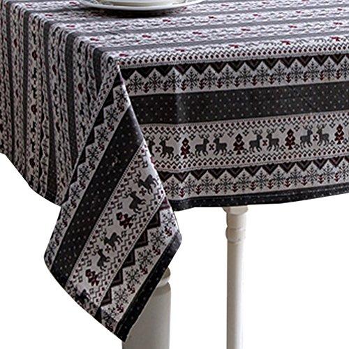 ihnachtliche Gestreift Gedruckt Tischtuch Großformat Gartentischdecke Pflegeleicht Tischwäsche (Weihnachts Grau, 100*140cm) (Schwarz-weiß Gestreiftes Tischtuch)