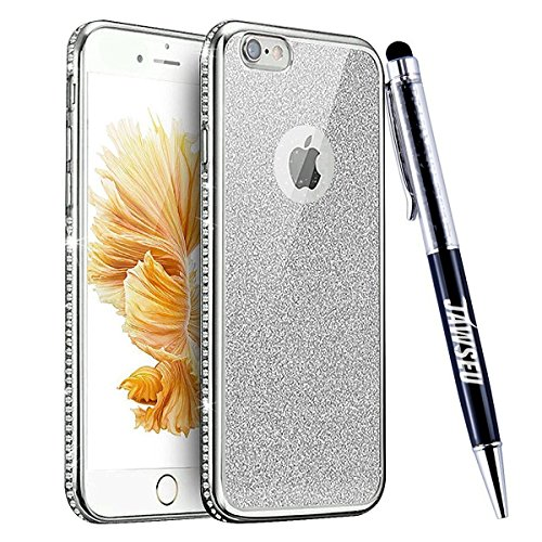 iPhone 7 Custodia, iPhone 7 Cover, iPhone 7 4.7 Custodia Cover, JAWSEU Moda Lusso Specchio Riflessione Scintilla Scintillio Diamante Bling Glitter Custodia Cover per iPhone 7 Ultra Sottile Anti-Graffi Bling Argento