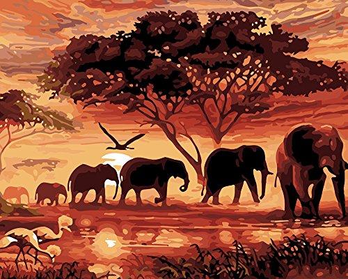Kit de manualidades de cuadro de elefantes 5D con diamantes de imitación, para decorar las paredes del hogar (30 x 25)